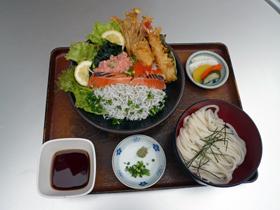 海鲜+天妇罗盖饭,乌冬面(凉) (绝好调)